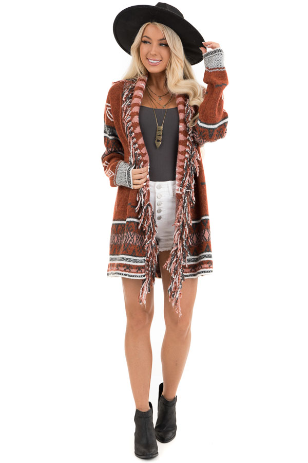Rust and Charcoal Aztec Print Open Front Cardigan front full body