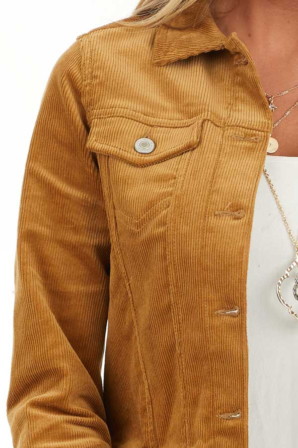 Caramel Button Up Corduroy Long Sleeve Jacket with Pockets detail