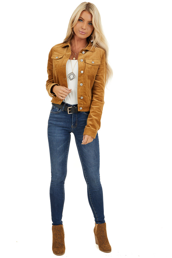 Caramel Button Up Corduroy Long Sleeve Jacket with Pockets front full body