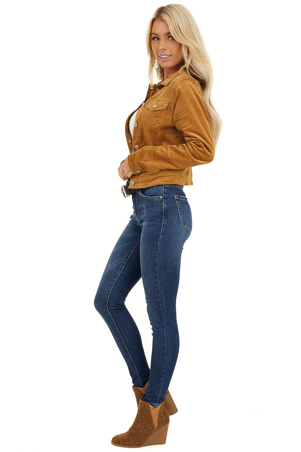 Caramel Button Up Corduroy Long Sleeve Jacket with Pockets side full body