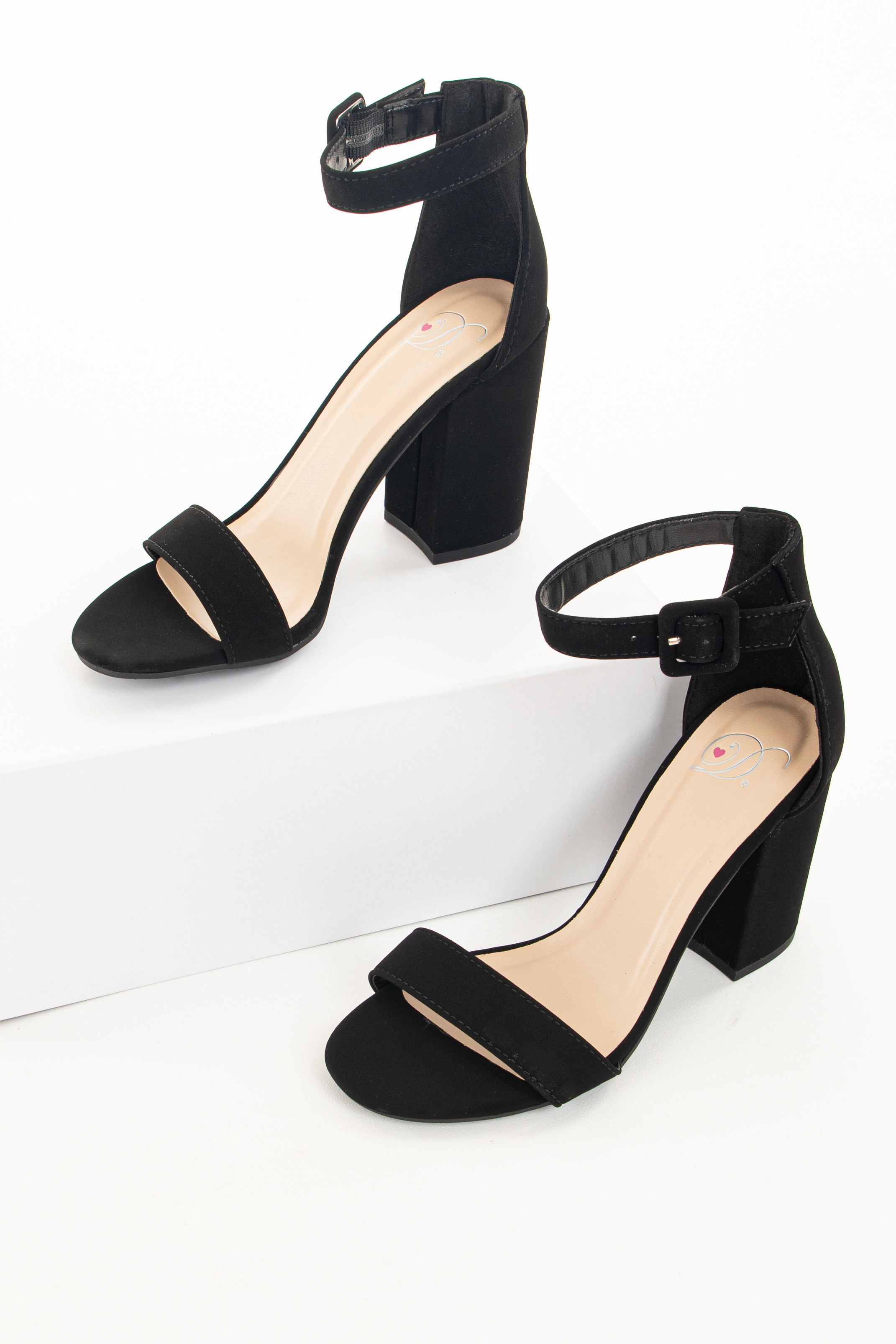Black Chunky Block Heels with Toe and Ankle Straps