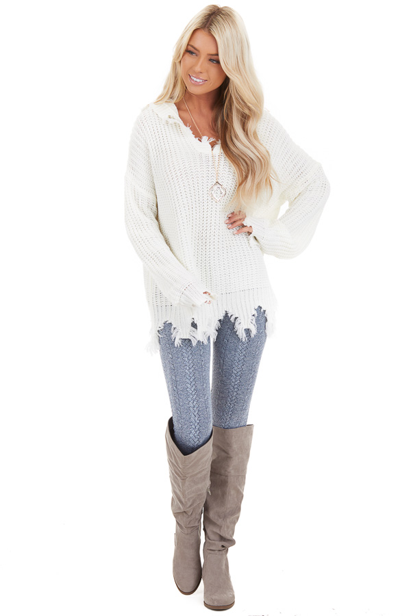 Cream Distressed Knit Hoodie Sweater with V Neckline front full body