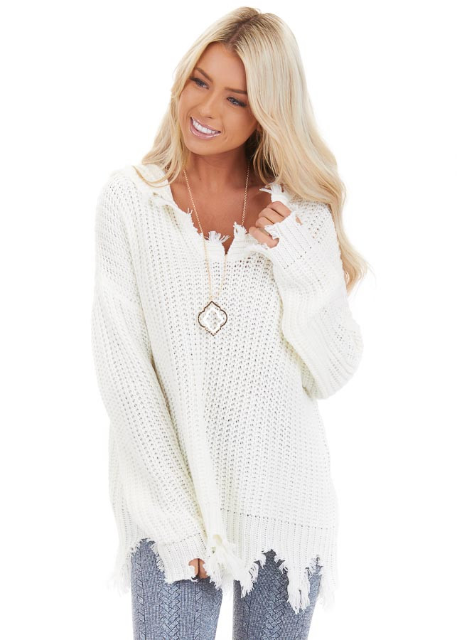 Cream Distressed Knit Hoodie Sweater with V Neckline front close up