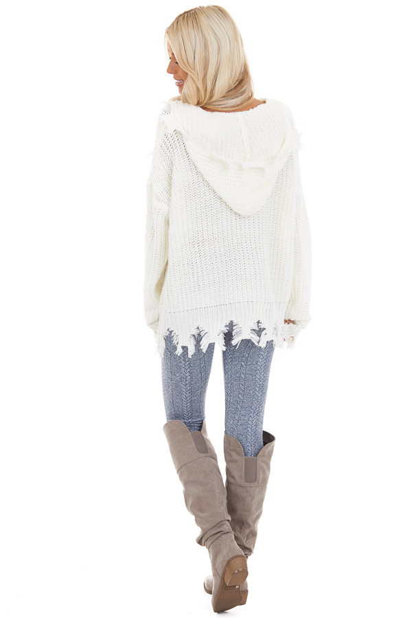 Cream Distressed Knit Hoodie Sweater with V Neckline back full body