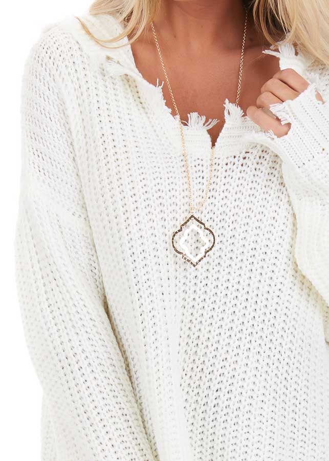 Cream Distressed Knit Hoodie Sweater with V Neckline detail