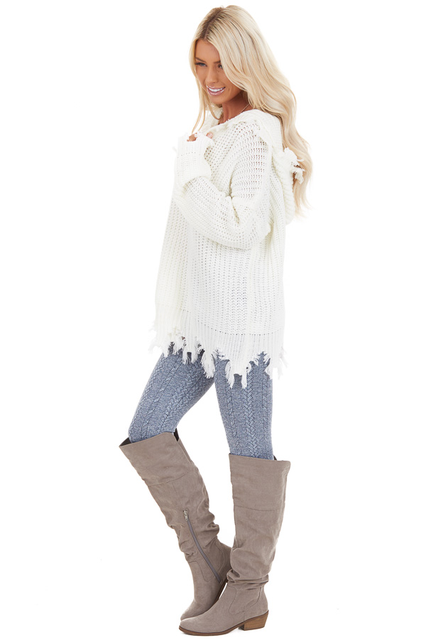 Cream Distressed Knit Hoodie Sweater with V Neckline side full body