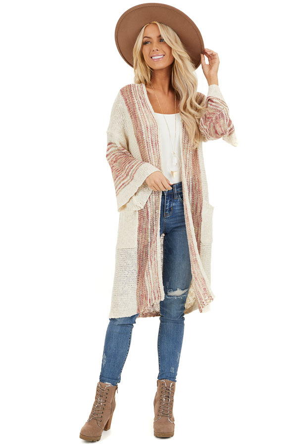 Oatmeal Striped Boho Wide Sleeve Cardigan with Pockets front full body