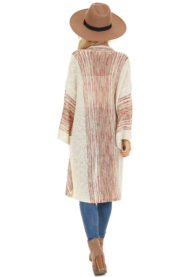 Oatmeal Striped Boho Wide Sleeve Cardigan with Pockets back full body