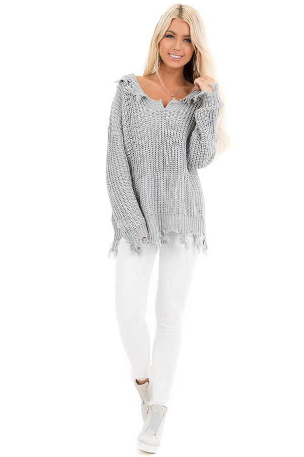 Stone Grey Distressed Knit Hoodie Sweater with V Neckline front full body