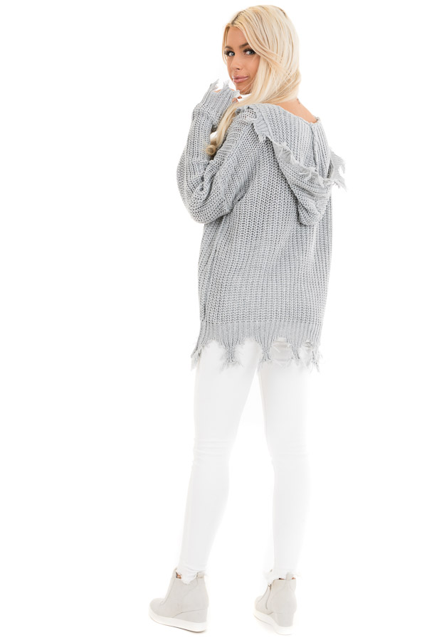 Stone Grey Distressed Knit Hoodie Sweater with V Neckline back full body