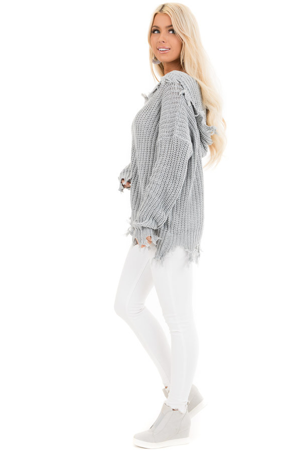 Stone Grey Distressed Knit Hoodie Sweater with V Neckline side full body