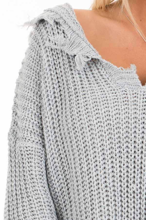 Stone Grey Distressed Knit Hoodie Sweater with V Neckline detail