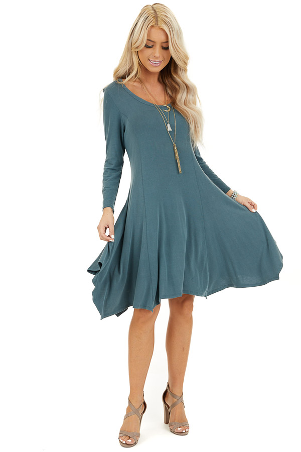 Faded Teal Long Sleeve Dress with Asymmetrical Hemline front full body