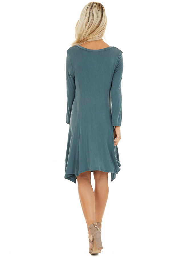 Faded Teal Long Sleeve Dress with Asymmetrical Hemline back full body