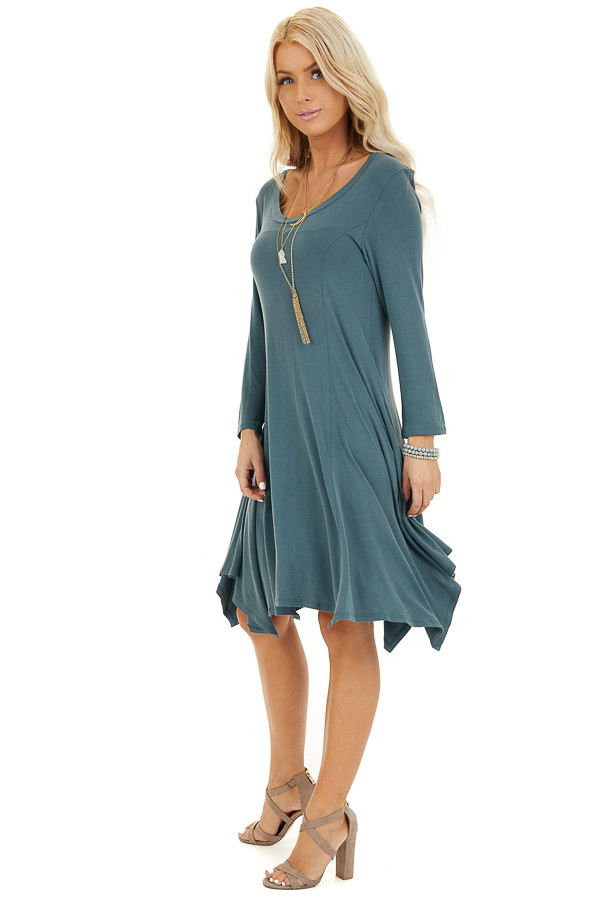 Faded Teal Long Sleeve Dress with Asymmetrical Hemline side full body