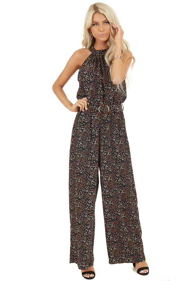 Black Floral Print Halter Jumpsuit with Pockets and Belt front full body