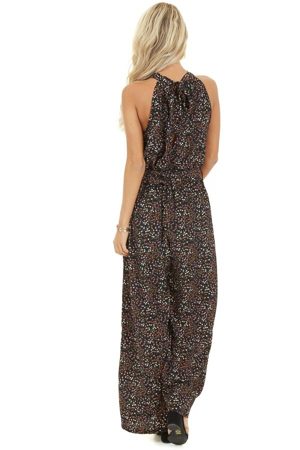 Black Floral Print Halter Jumpsuit with Pockets and Belt back full body