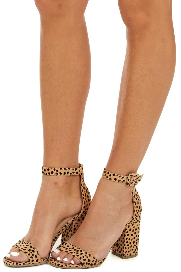Tan Animal Print Chunky Block Heels with Toe and Ankle Strap side view