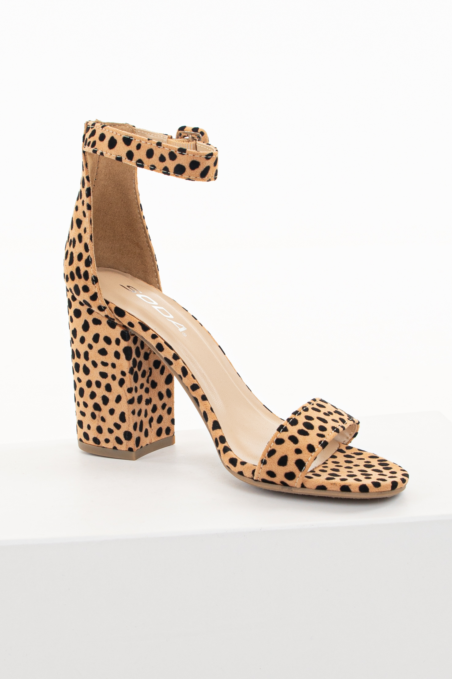 Tan Animal Print Chunky Block Heels with Toe and Ankle Strap