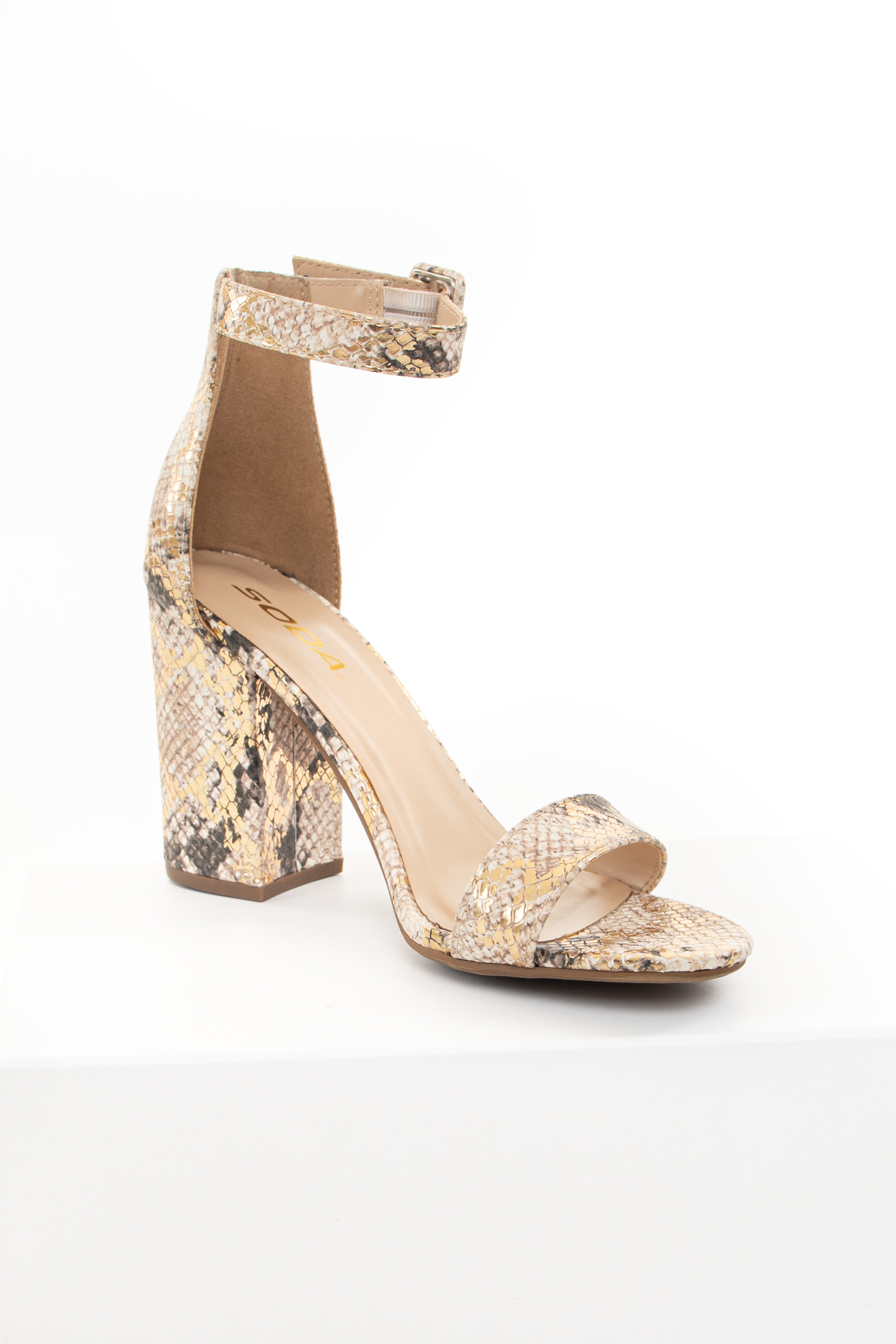 Cream Snakeskin Print Heels with Toe and Ankle Straps