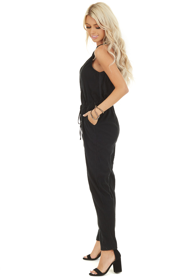 Black Sleeveless Jumpsuit with Cinch Waist and Pockets side full body