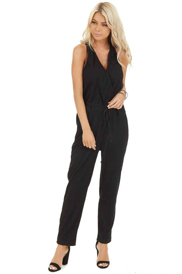 Black Sleeveless Jumpsuit with Cinch Waist and Pockets front full body