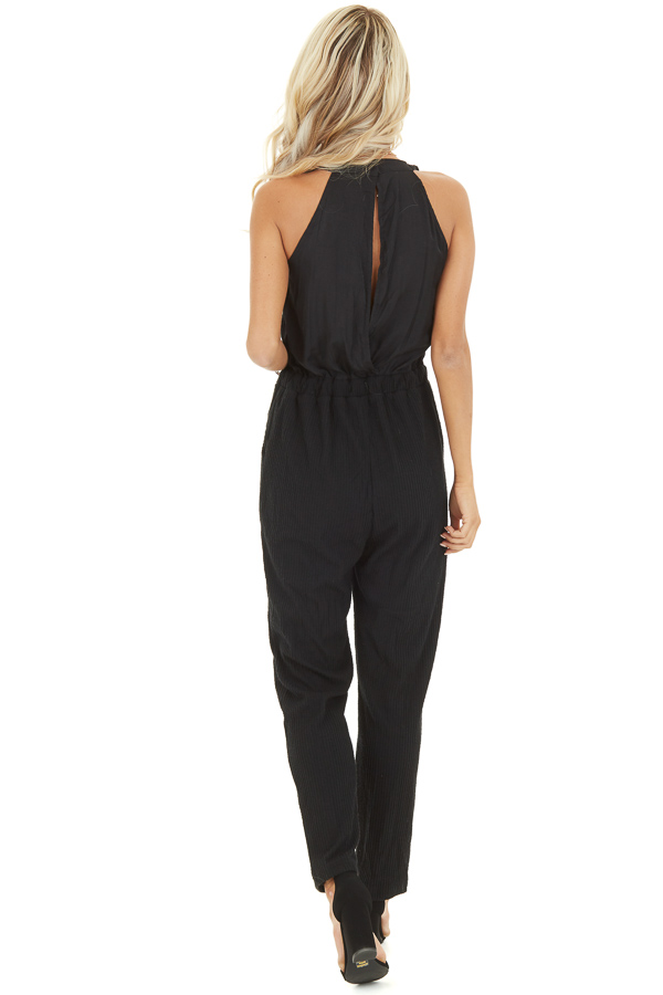 Black Sleeveless Jumpsuit with Cinch Waist and Pockets back full body