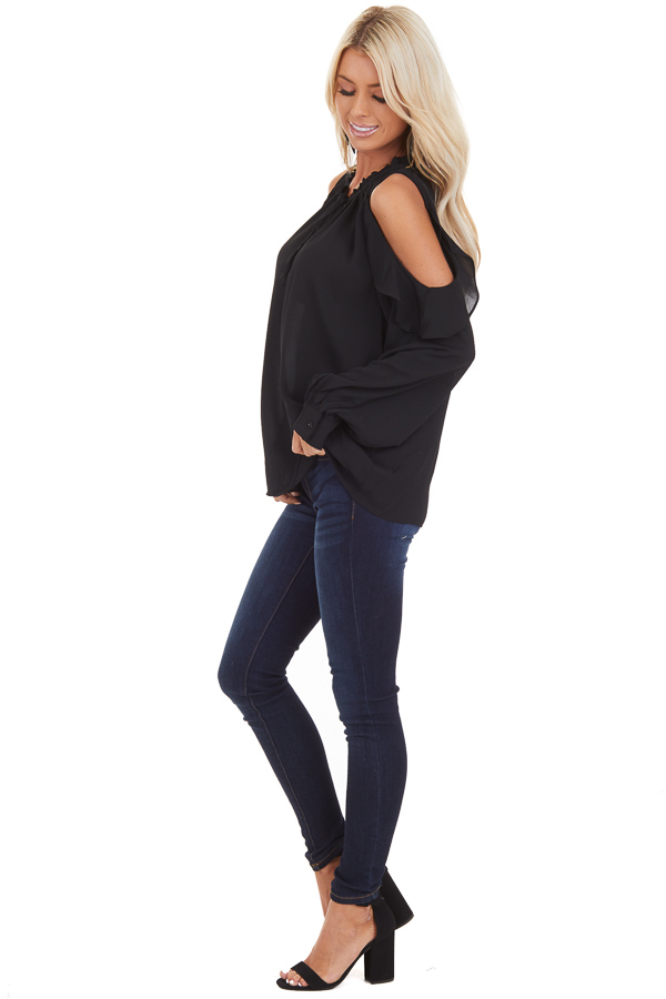 Black Long Sleeve Cold Shoulder Top with Ruffle Details side full body