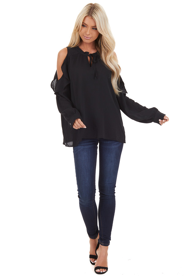 Black Long Sleeve Cold Shoulder Top with Ruffle Details front full body
