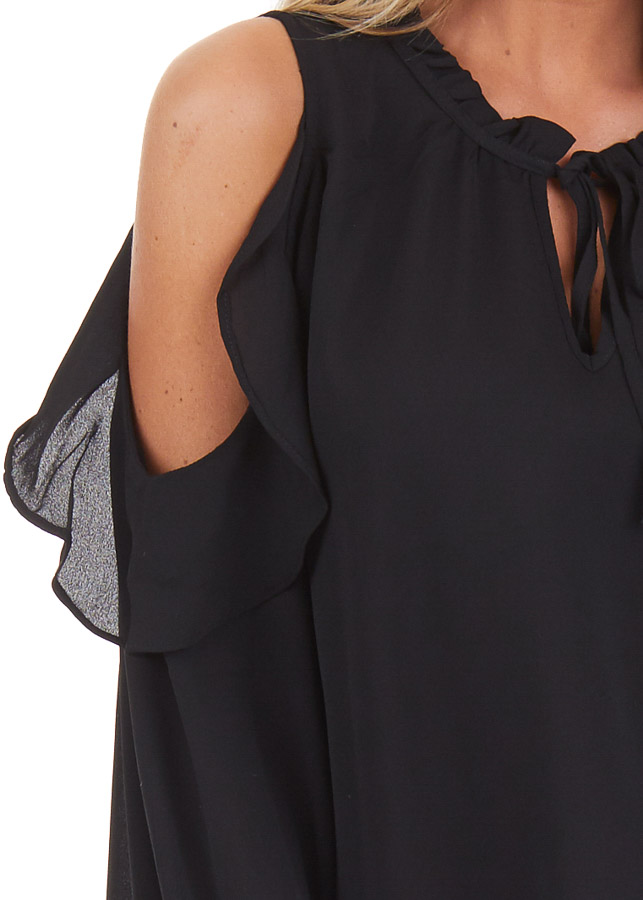Black Long Sleeve Cold Shoulder Top with Ruffle Details detail