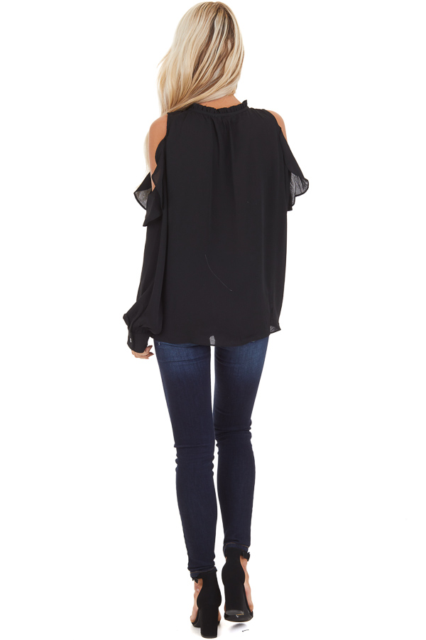 Black Long Sleeve Cold Shoulder Top with Ruffle Details back full body