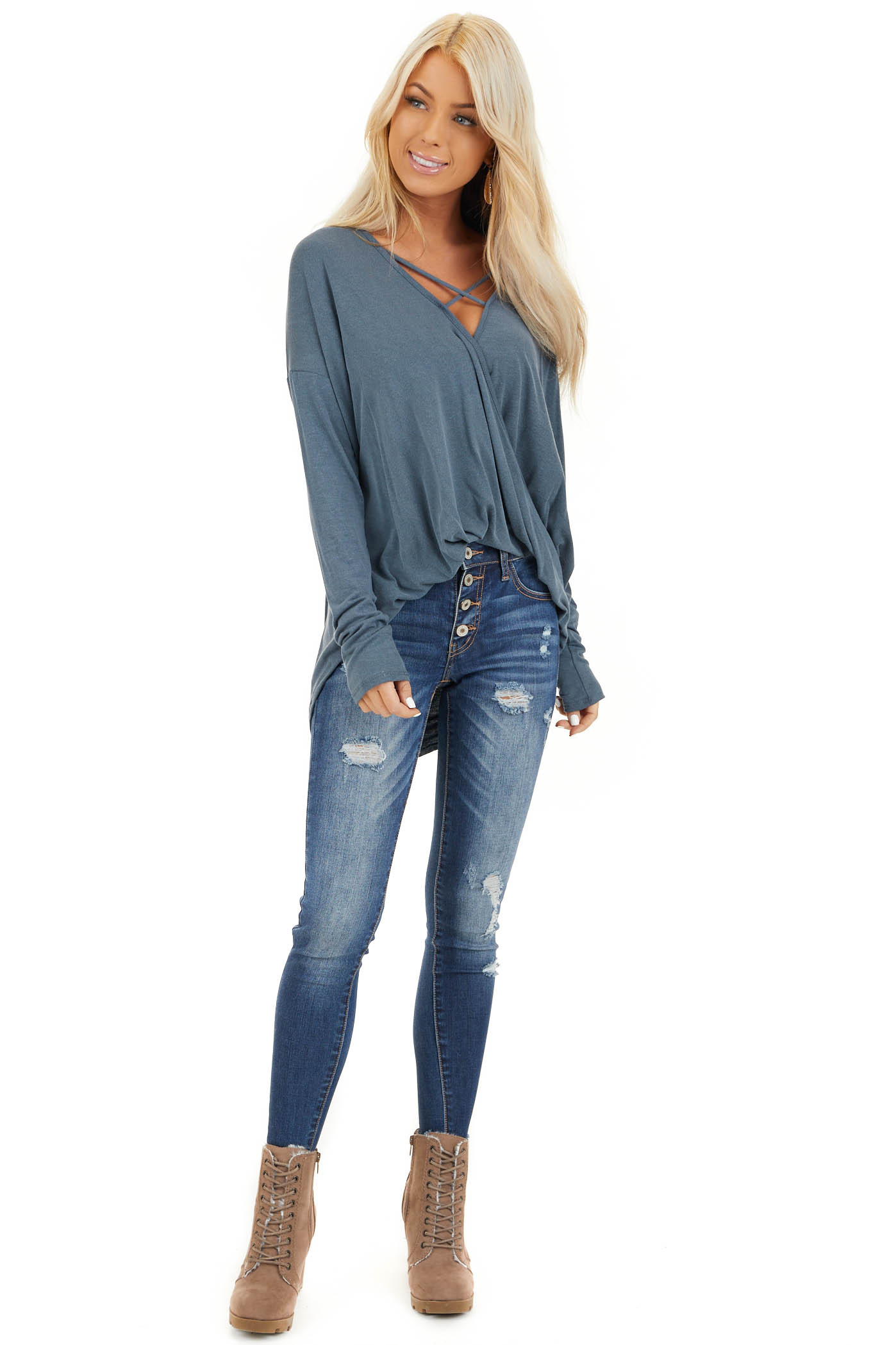 Slate Blue Long Sleeve Top with High Low Bubble Hemline front full body