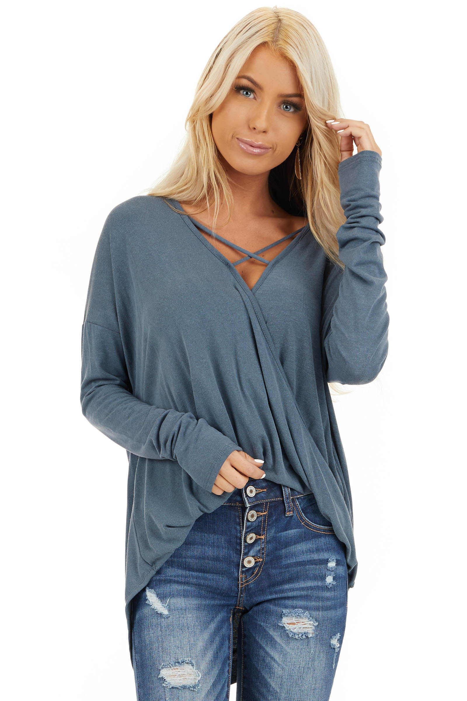 Slate Blue Long Sleeve Top with High Low Bubble Hemline front close up
