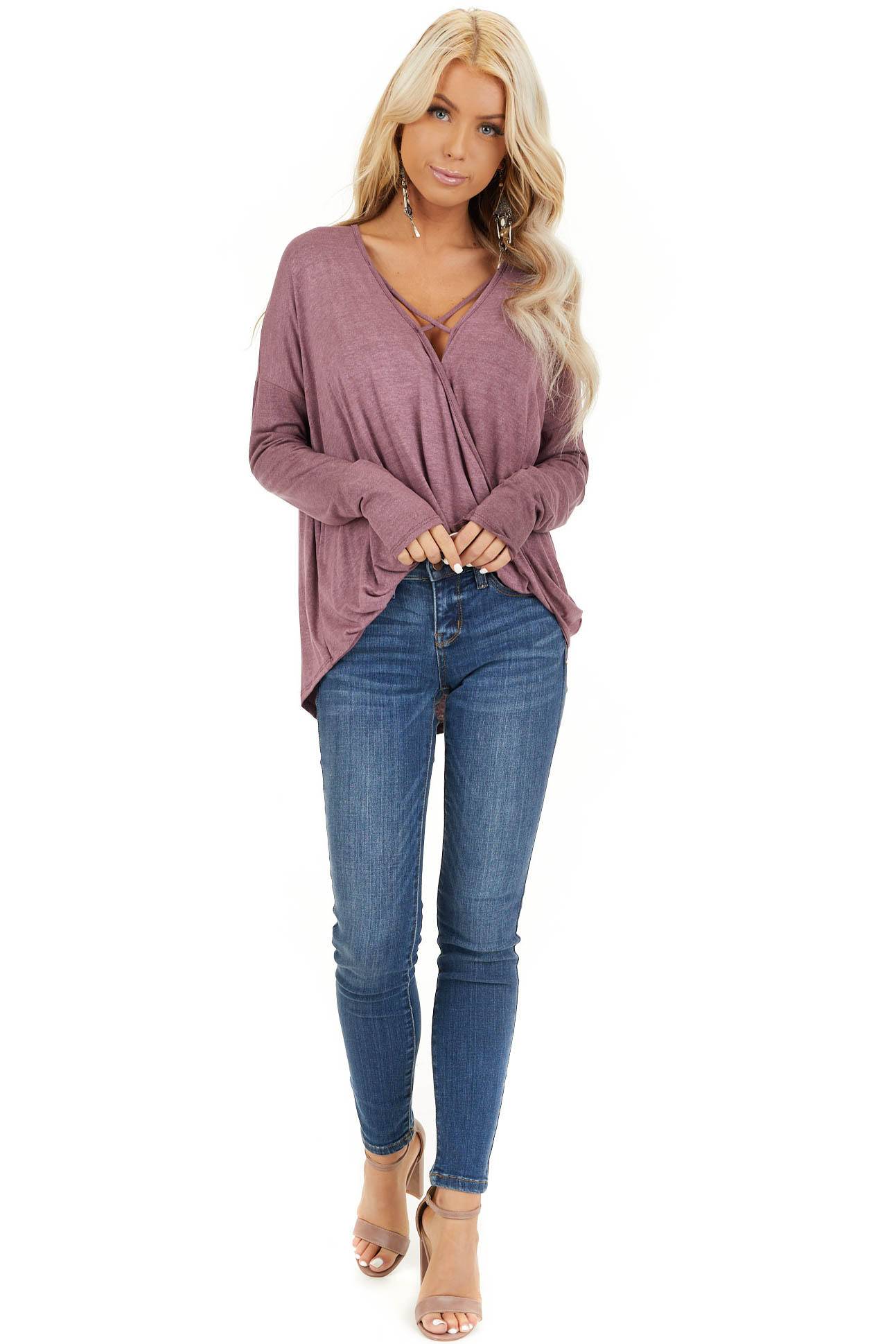 Faded Burgundy Long Sleeve Top with High Low Bubble Hemline front full body