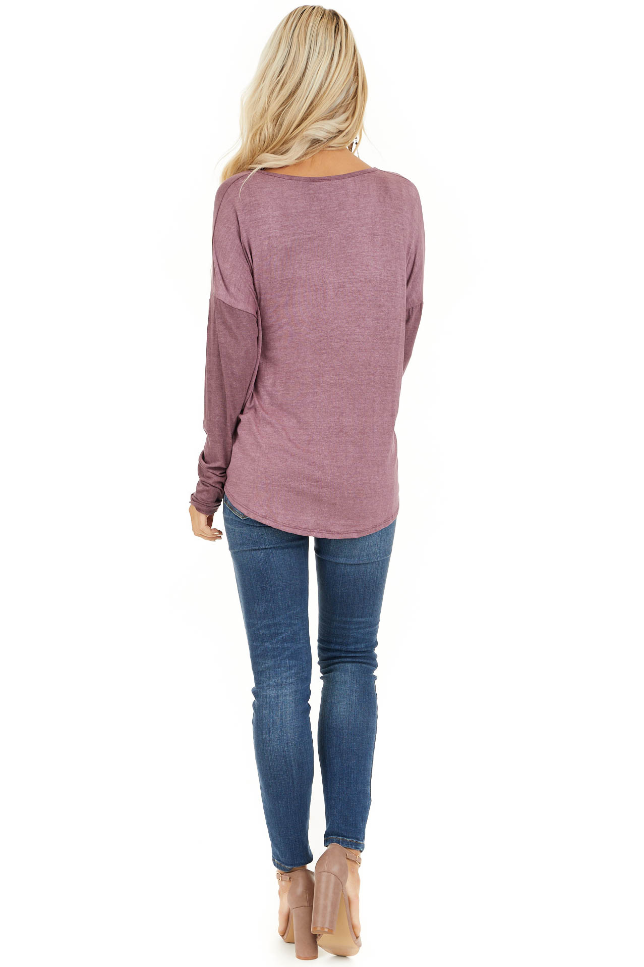 Faded Burgundy Long Sleeve Top with High Low Bubble Hemline back full body