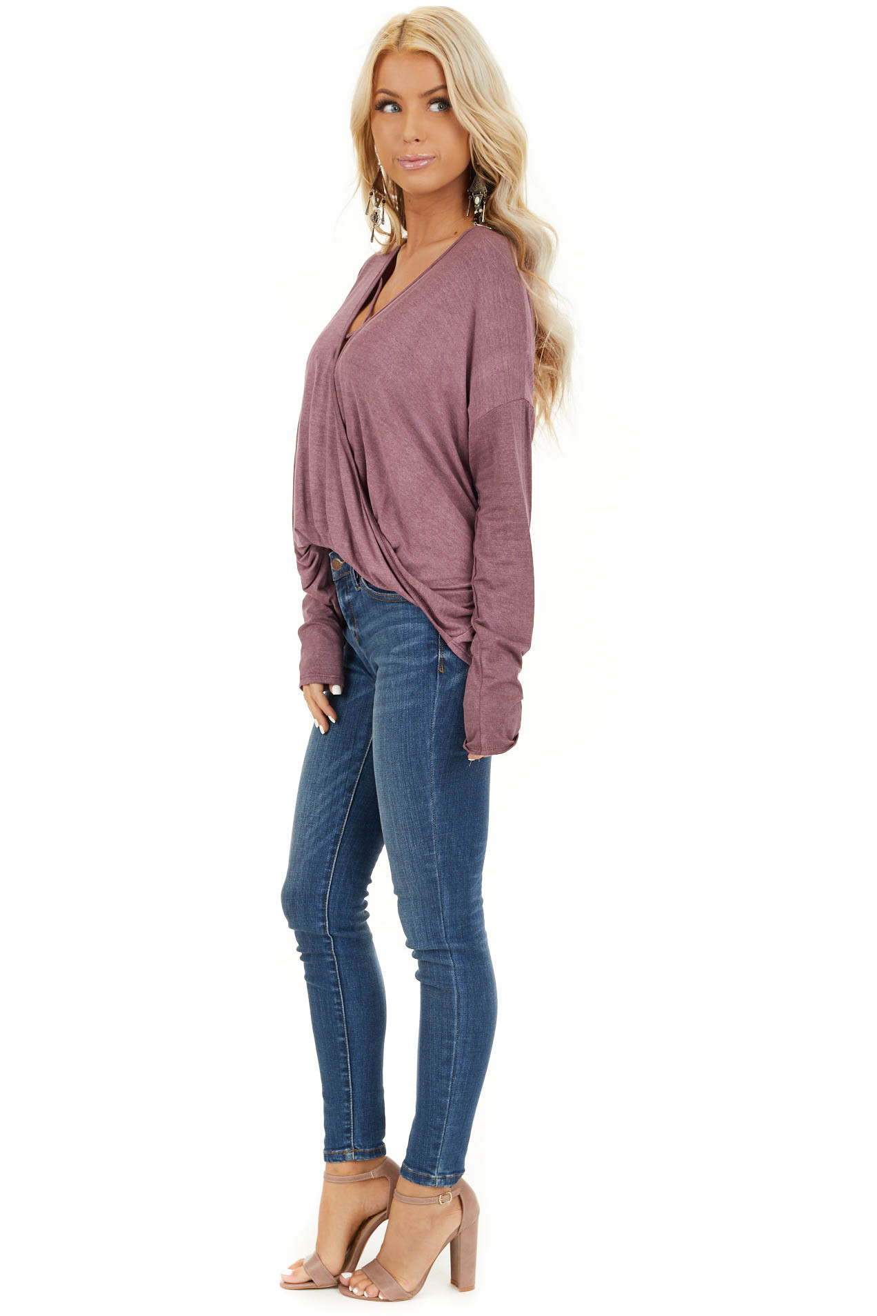 Faded Burgundy Long Sleeve Top with High Low Bubble Hemline side full body