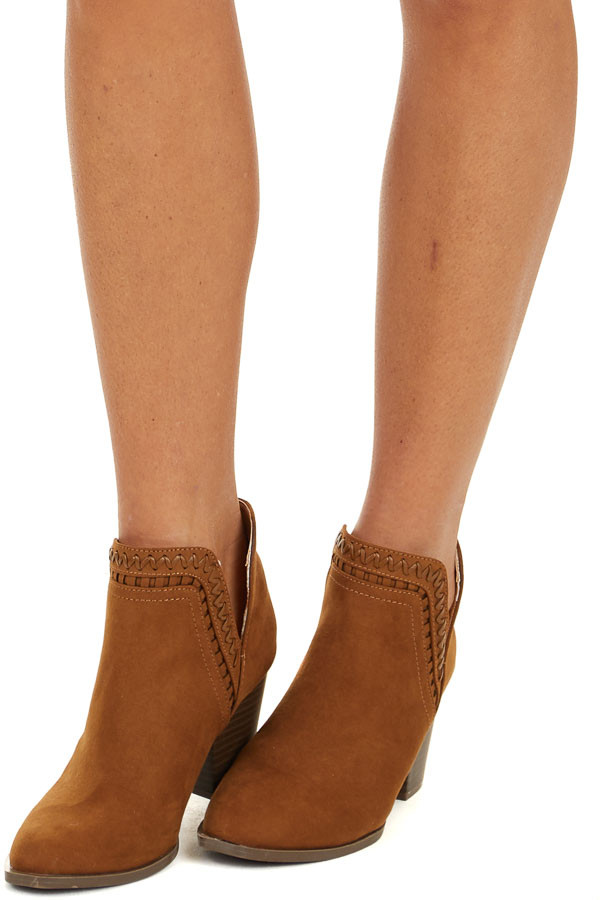 Camel Ankle Booties with Side Cutouts and Stacked Heel side view