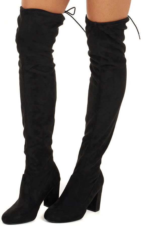Black Faux Suede Knee High Heeled Boots with Tie Detail side view