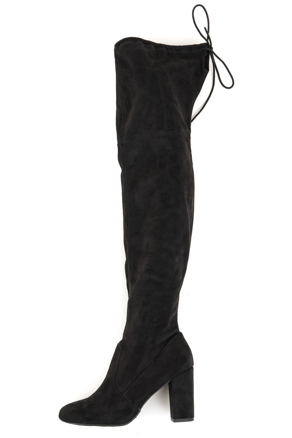 Black Faux Suede Knee High Heeled Boots with Tie Detail