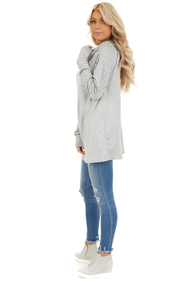 Heather Grey Raglan Top with Cowl Neck and Stripe Details side full body