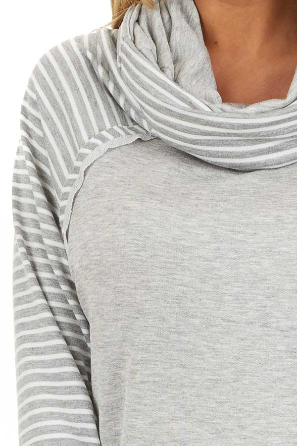 Heather Grey Raglan Top with Cowl Neck and Stripe Details detail