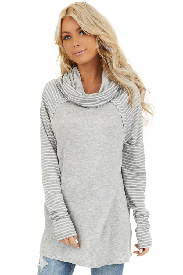 Heather Grey Raglan Top with Cowl Neck and Stripe Details front close up