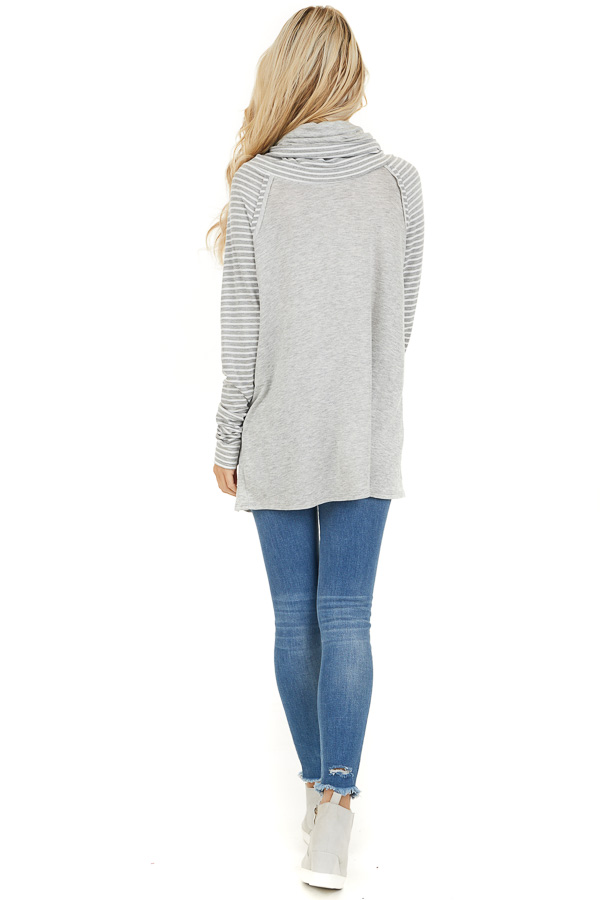 Heather Grey Raglan Top with Cowl Neck and Stripe Details back full body