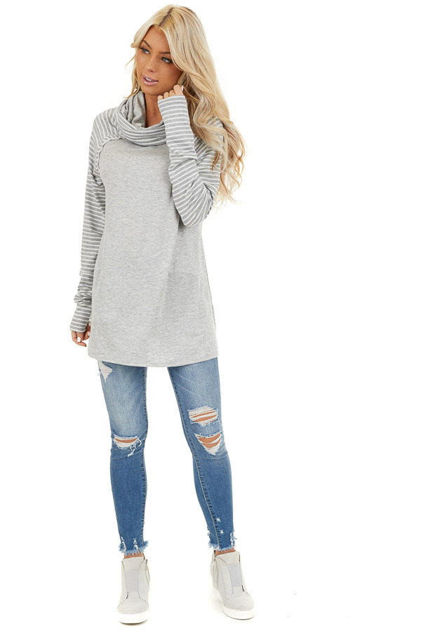 Heather Grey Raglan Top with Cowl Neck and Stripe Details front full body