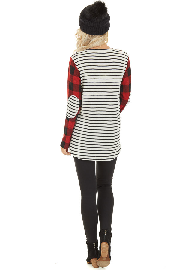 Ivory and Ruby Striped and Checkered Top with Elbow Patches back full body