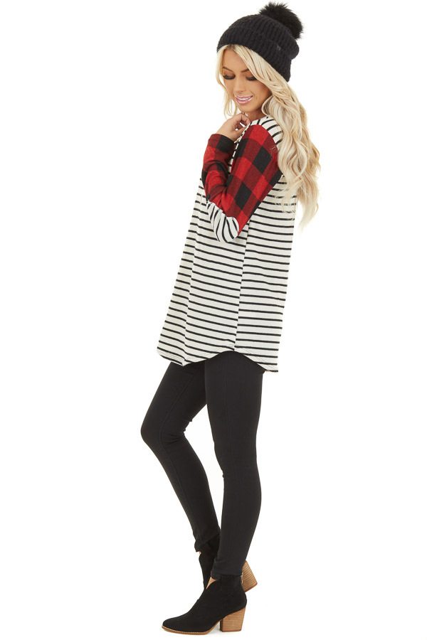 Ivory and Ruby Striped and Checkered Top with Elbow Patches side full body