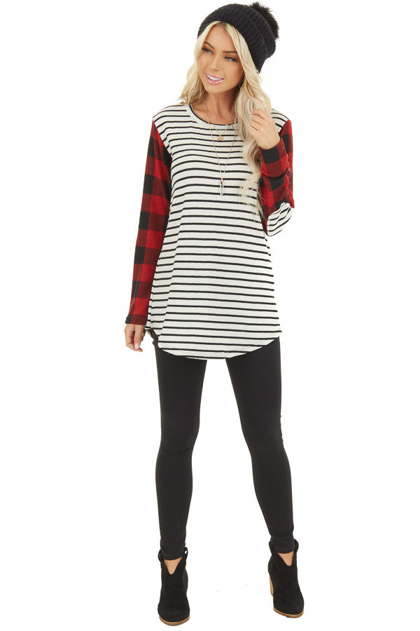 Ivory and Ruby Striped and Checkered Top with Elbow Patches front full body