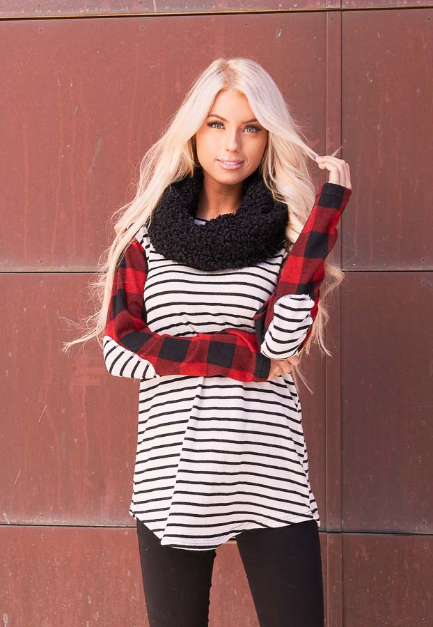 Ivory and Ruby Striped and Checkered Top with Elbow Patches