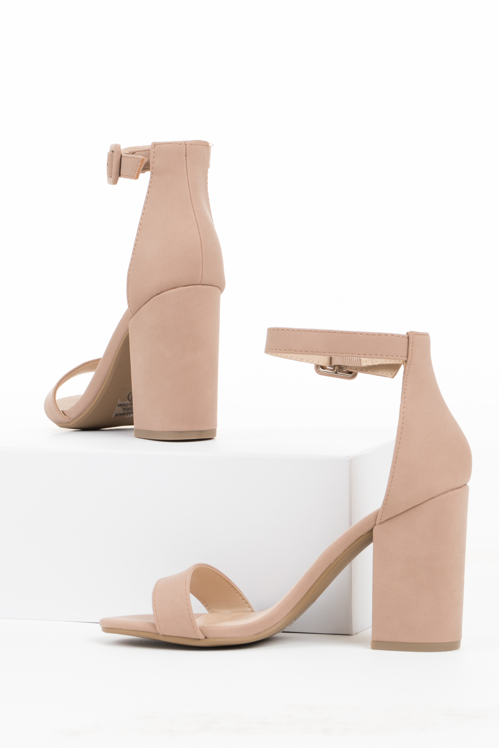 Rosy Taupe Heels with Toe and Ankle Straps