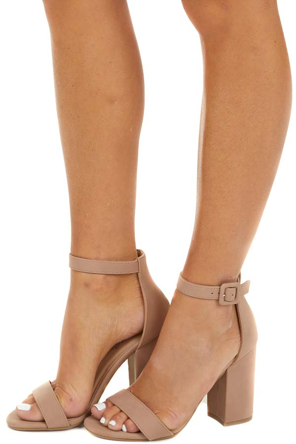 Rosy Taupe Heels with Toe and Ankle Straps side view